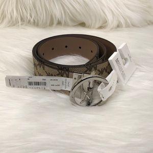Michael Kors Tan Logo Monogram Reversible Belt